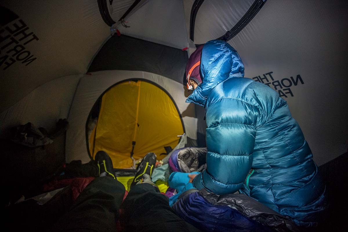 Headlamp in cold tent