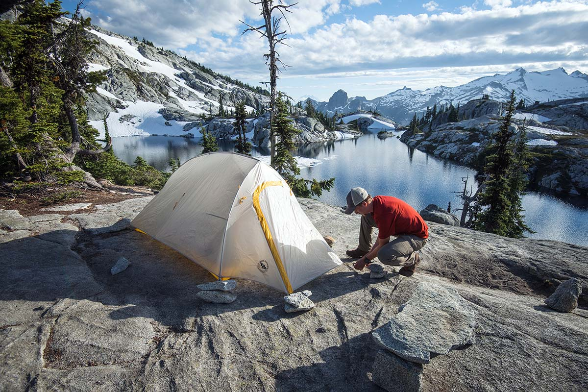 Tent on granite without footprint