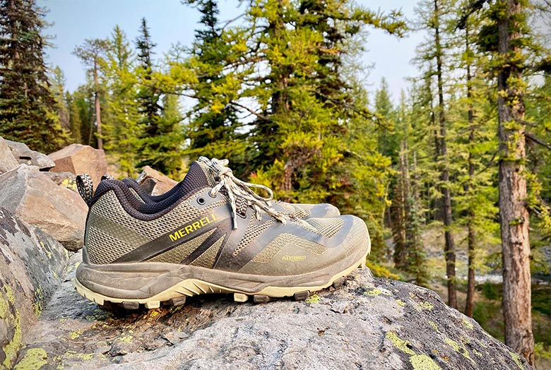 Merrell MQM Flex 2 hiking shoe (pair on rock)