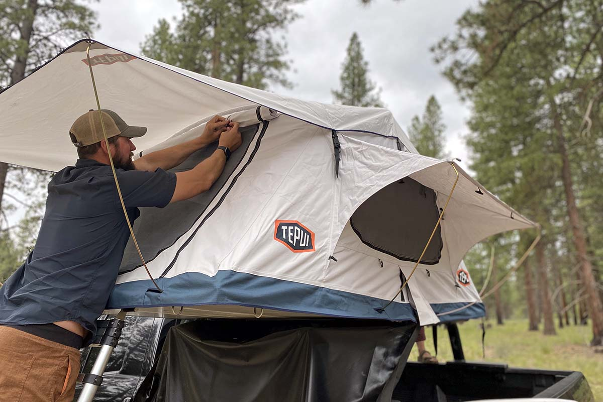 Rolling window shade on Tepui Low Pro rooftop tent 3