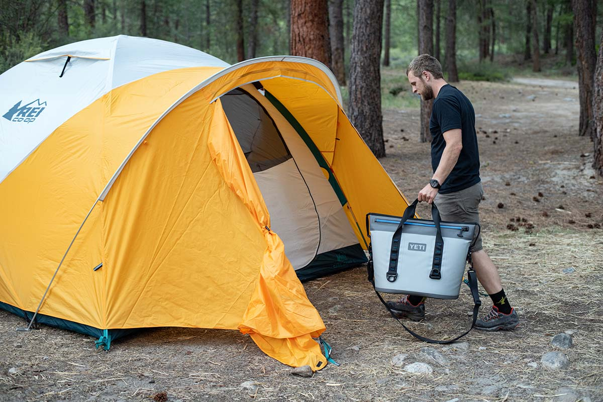 Camping tent (REI Base Camp 6 using vestibule)