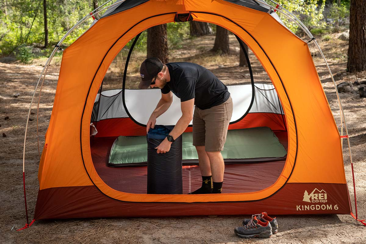 Camping tent (REI Kingdom 6 removing sleeping mat)
