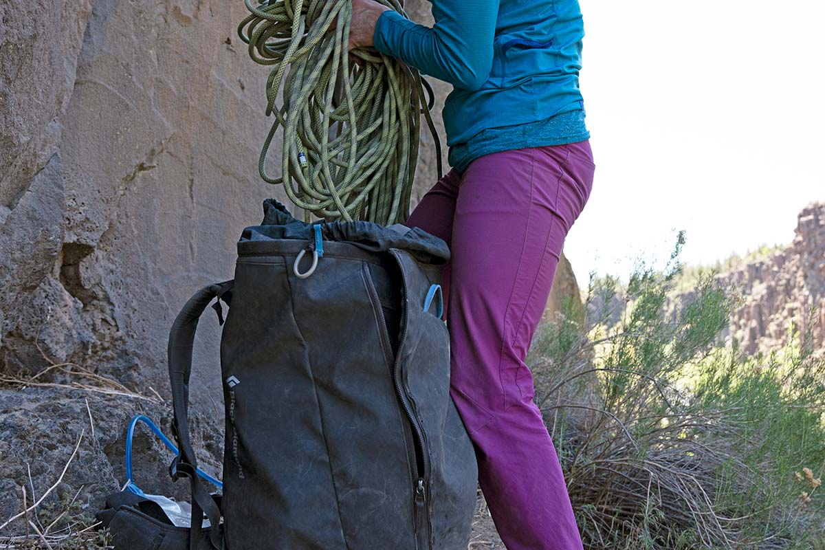 Climbing backpack (Black Diamond Creek 50 at the crag)