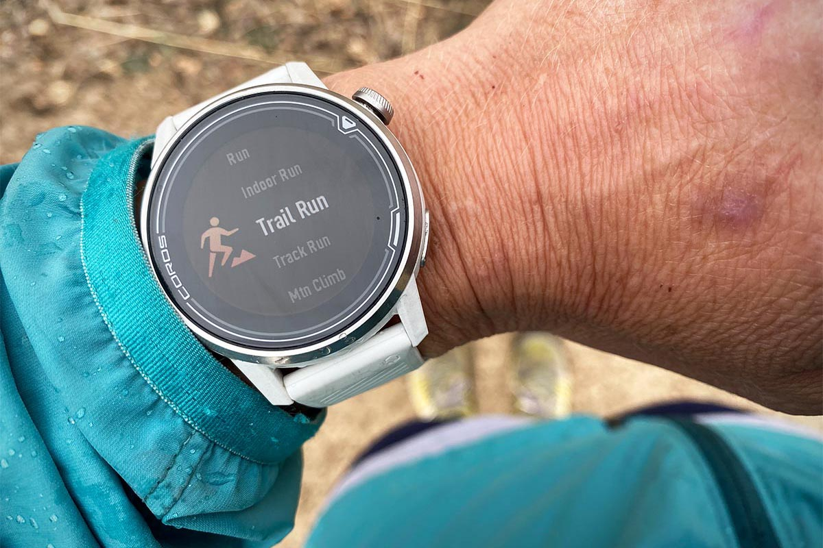 Altimeter watch (trail running mode on the Coros Apex)
