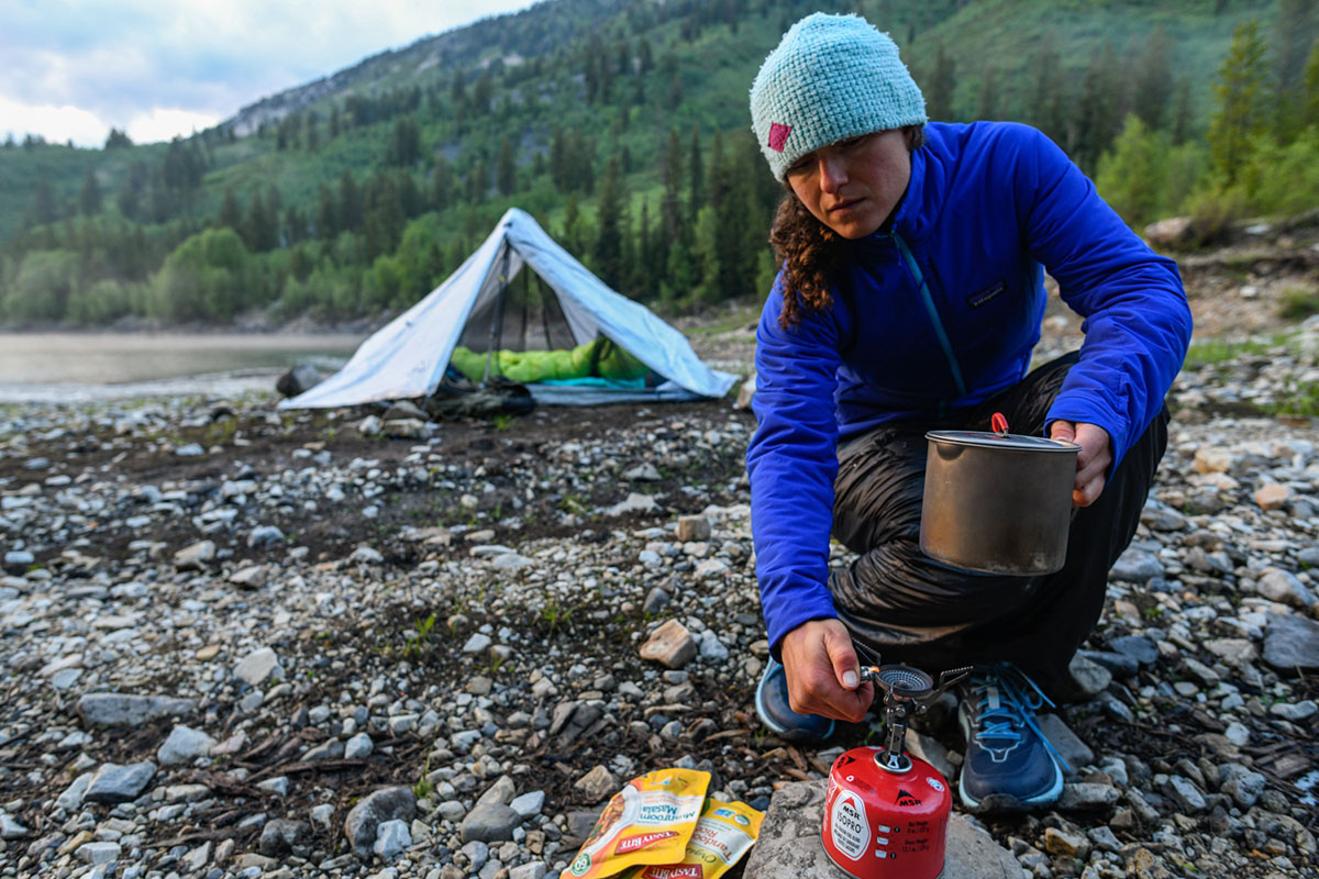 Backpacking stove (MSR PocketRocket lighting stove)