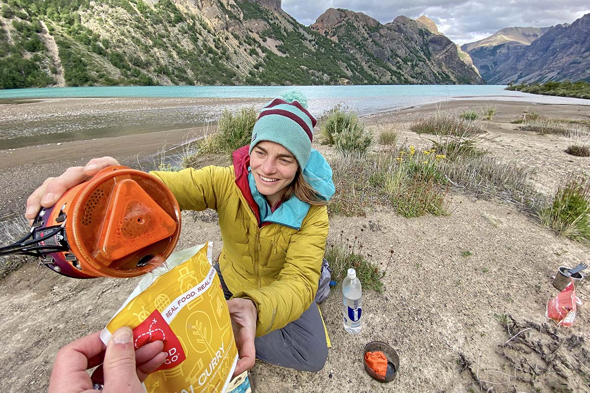 Backpacking stove (pouring water from Jetboil MiniMo)