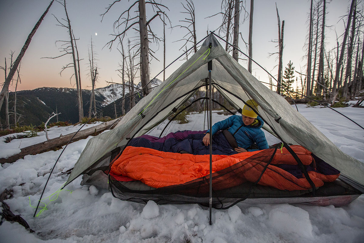 Backpacking tent (Zpacks Duplex in snow)
