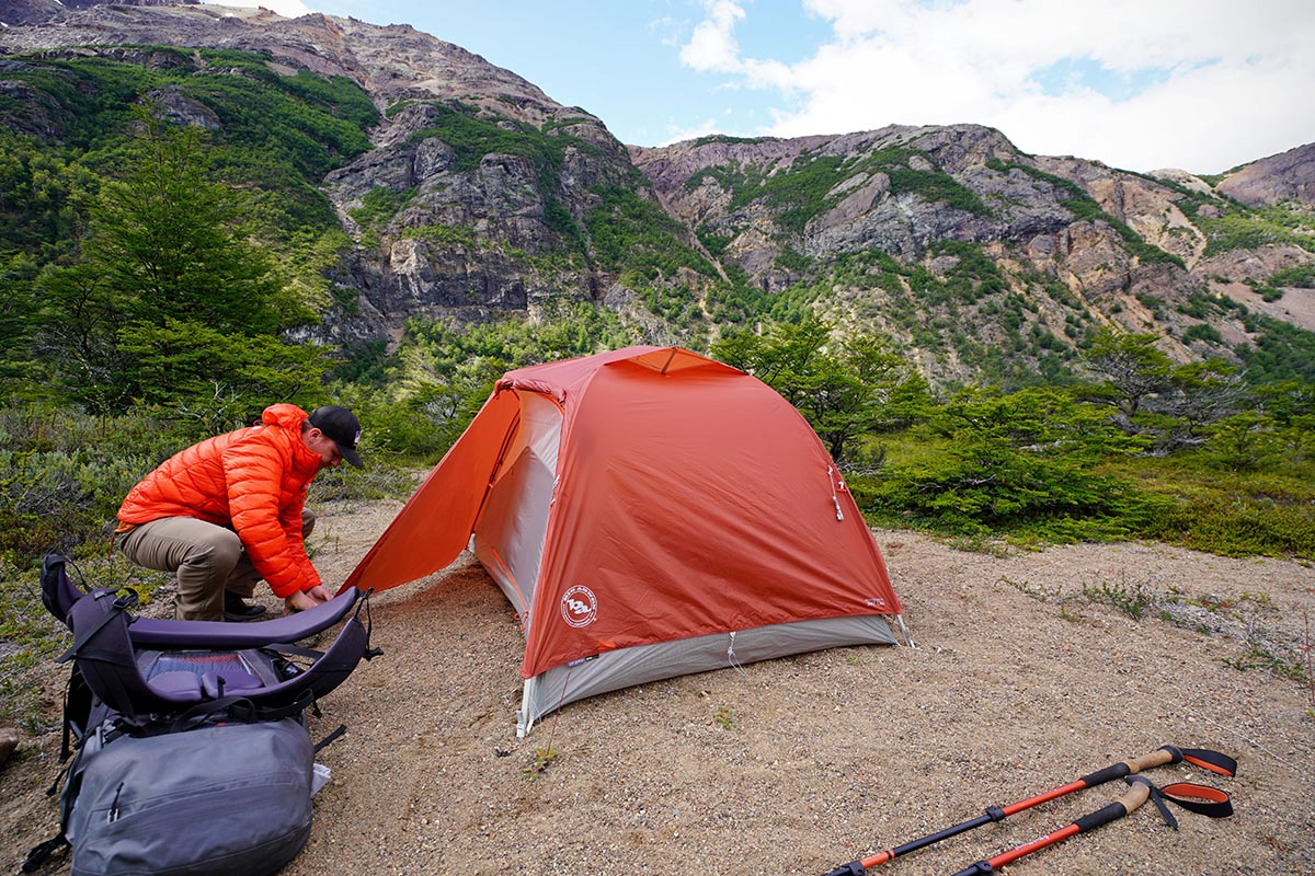 Backpacking tent (staking out vestibule on Big Agnes Copper Spur)