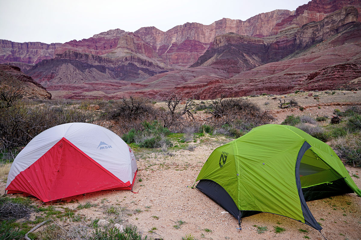 Backpacking tents (MSR Hubba Hubba and Nemo Dagger in Grand Canyon)
