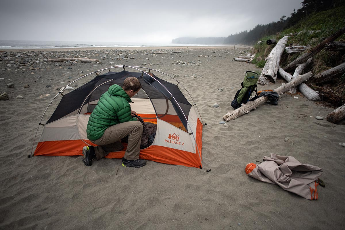 Backpacking tents (unloading gear in front of REI Passage)