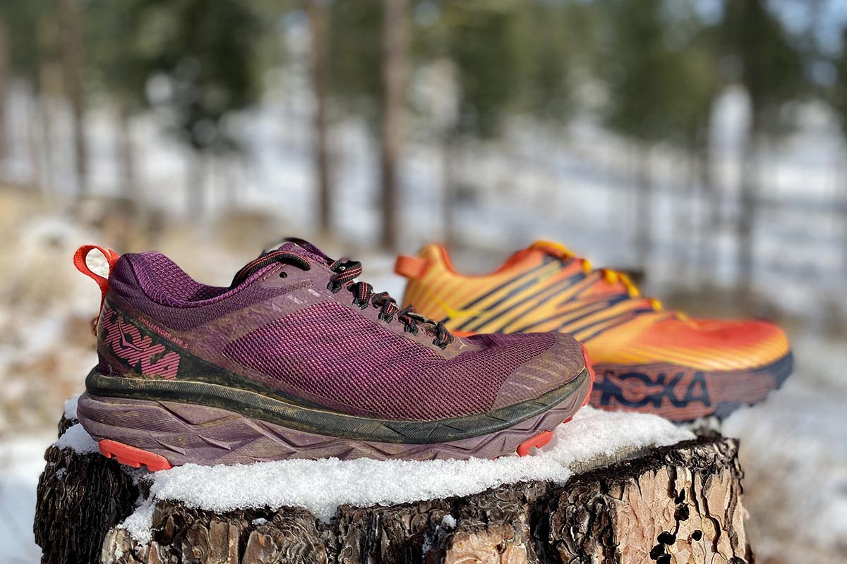 Hoka One One trail-running shoes (Challenger ATR and Speedgoat 4)