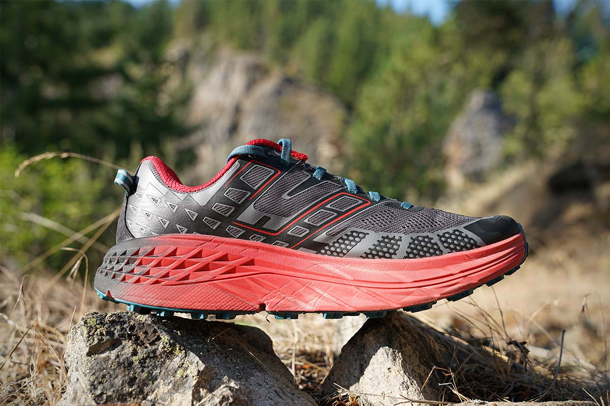 Trail-running shoes (Hoka profile)