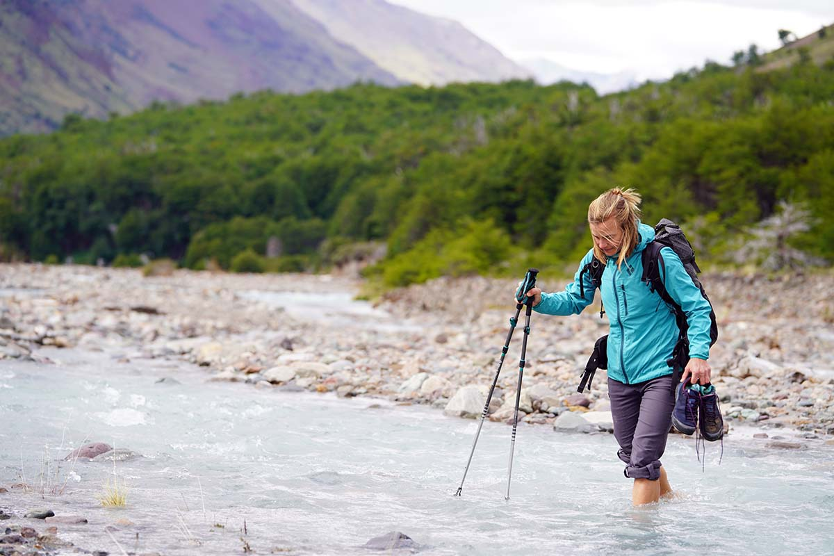 Trekking poles (wading through river in Patagonia)