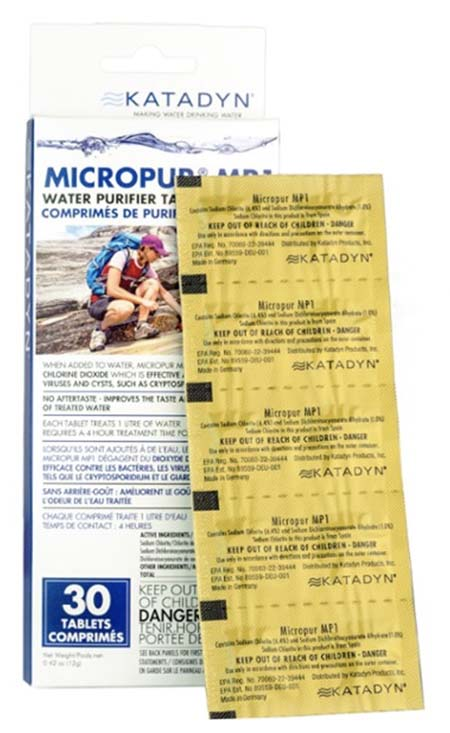 Katadyn Micropur MP1 chemical water treatment for backpacking