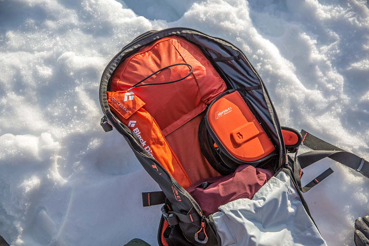 Alpride E1 avalanche airbag system (in Scott Patrol 30 backpack)