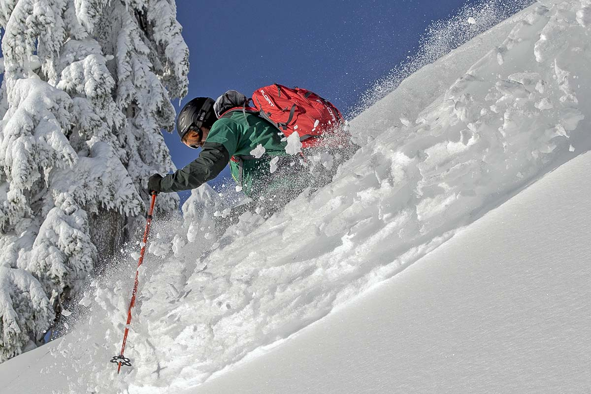 Backcountry Access Float 2.0 avalanche airbag backpack (skiing in powder)