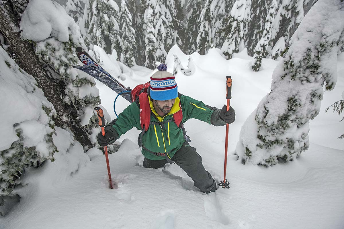 Bootpacking while backcountry skiing (wearing BCA Float 2.0 avalanche airbag backpack)