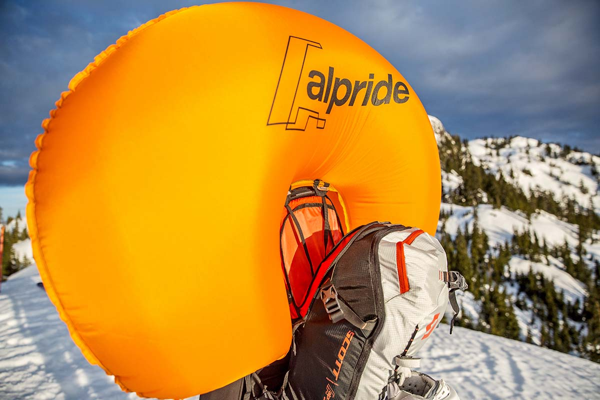 Deployed Alpride E1 airbag (on Scott Patrol 30 avalanche airbag pack)
