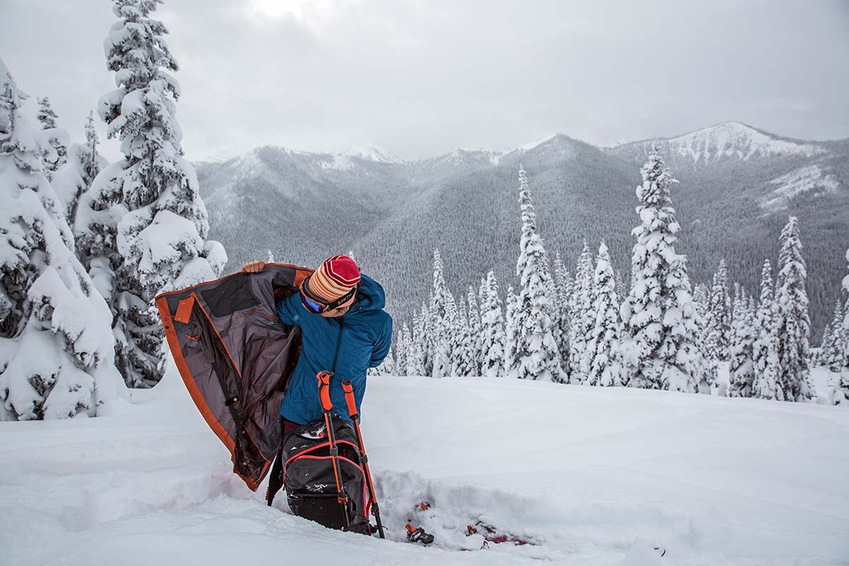 Transitioning while backcountry skiing (Arc'teryx Voltair avalanche airbag backpack)