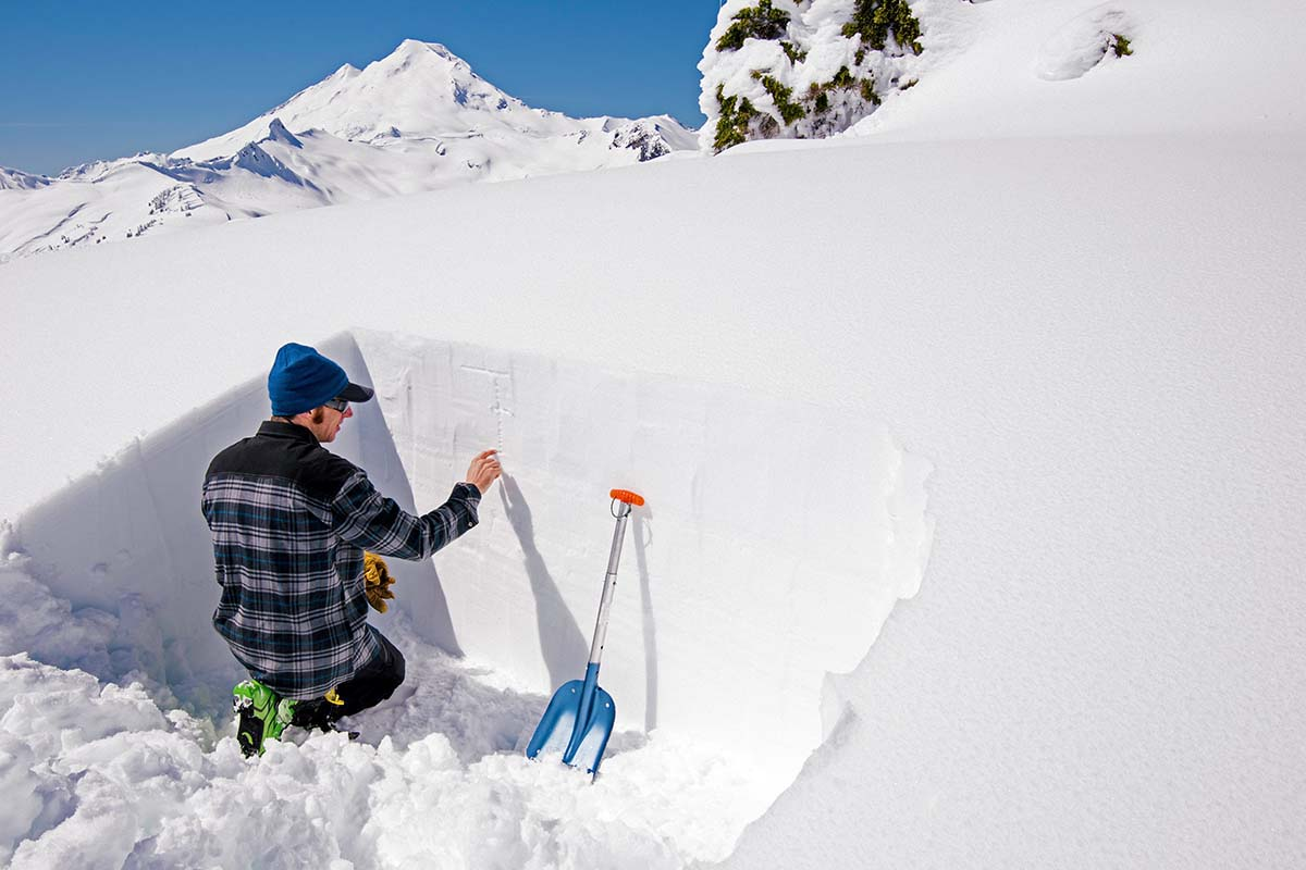 Avalanche safety (inside snow pit)