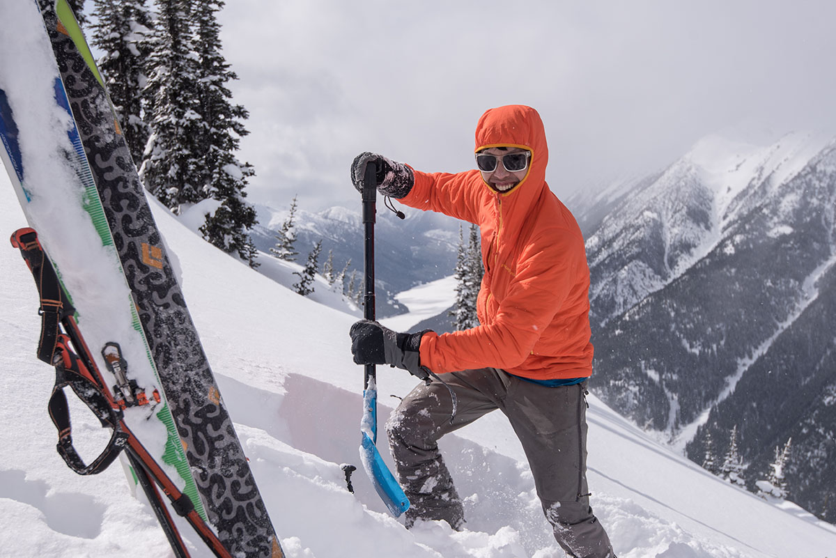 Backcountry skis (digging snow pit)