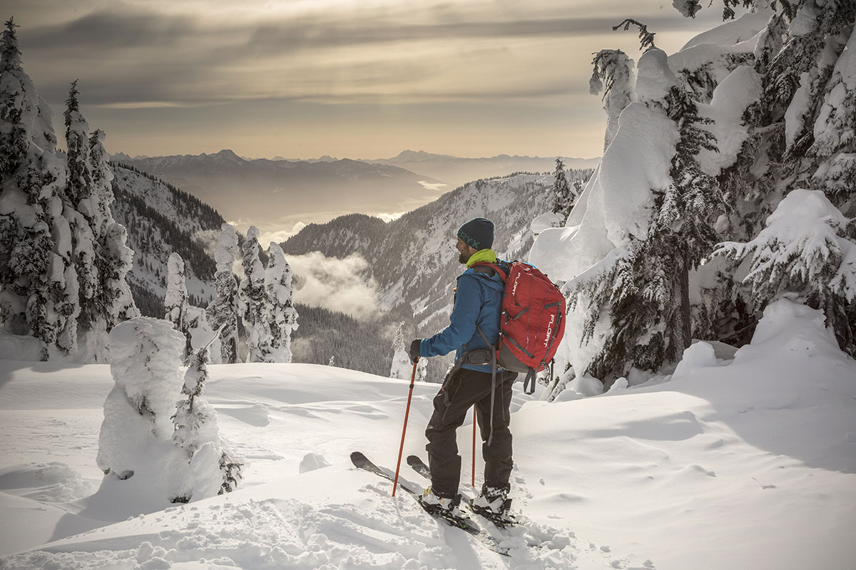 Backcountry skis (dropping in)