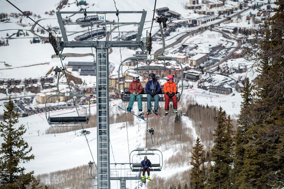 Ski brands (riding up the chairlift)