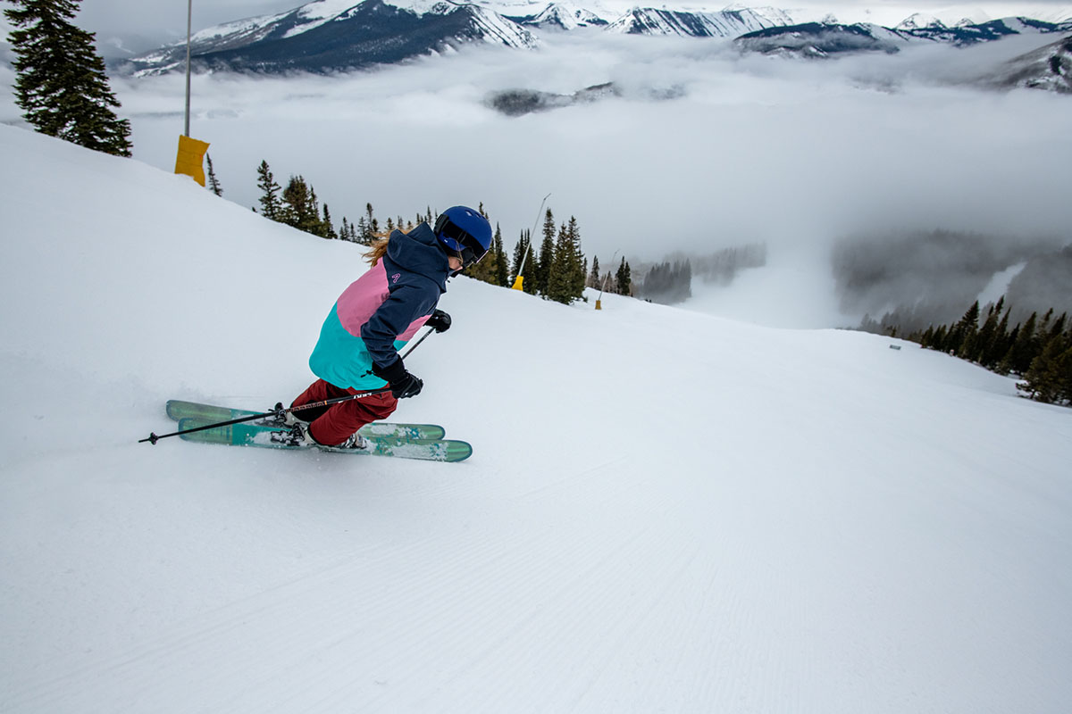 Ski jacket (Flylow Gear Lucy skiing in Crested Butte)