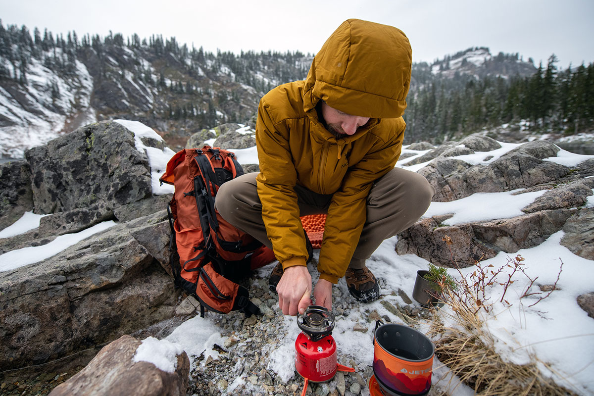 Arc'teryx Atom AR Hoody (using backpacking stove)