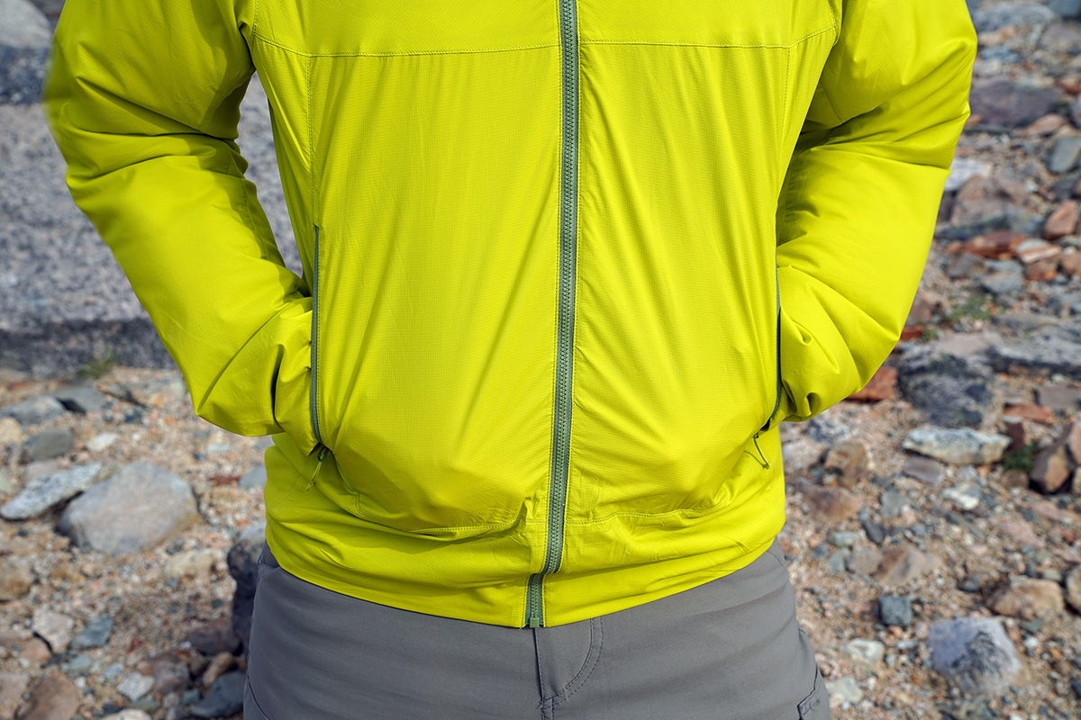 Arc'teryx Atom SL Hoody synthetic jacket (hands in pockets)