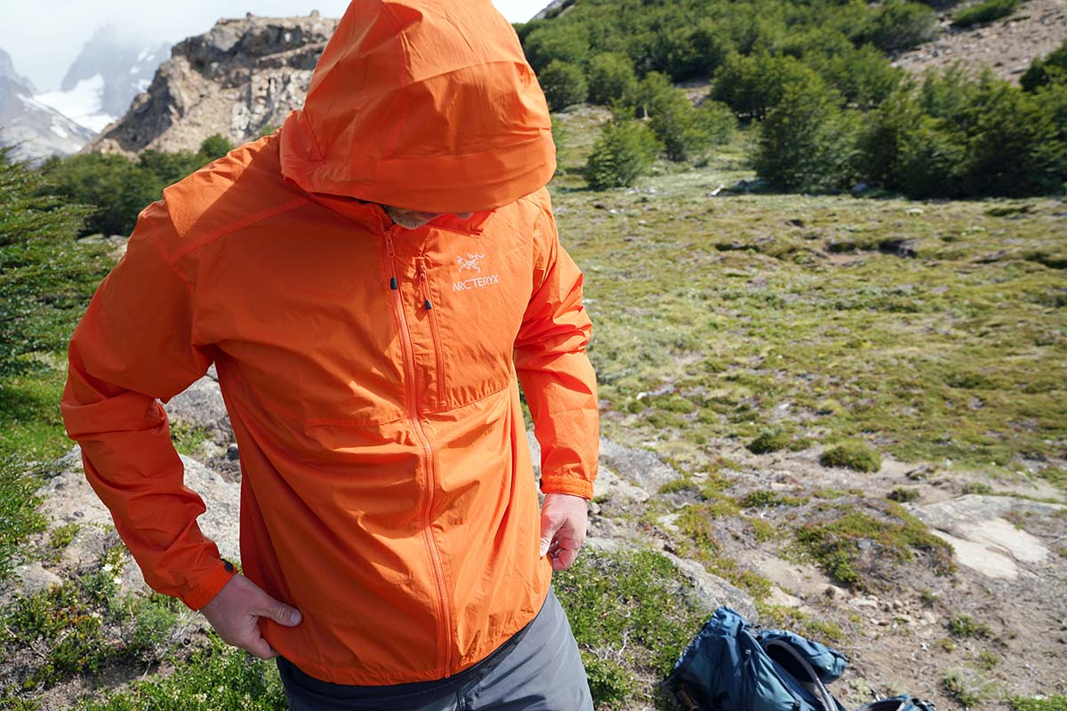 Arc'teryx Squamish Hoody windbreaker jacket (in mountains)