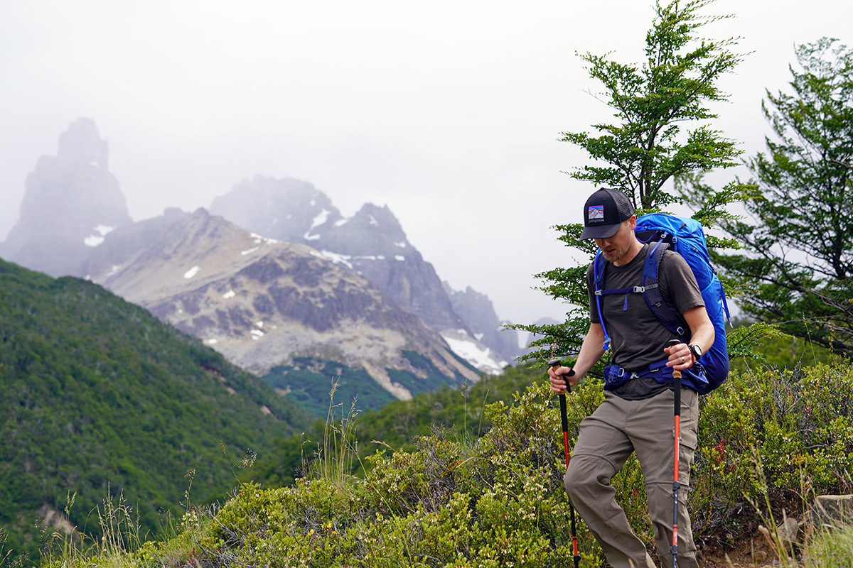 Gregory Optic 58 backpacking pack (hiking looking down)