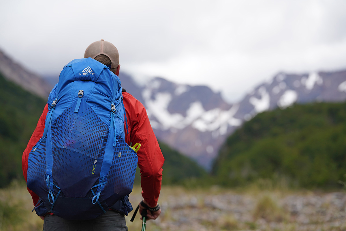 Gregory Optic 58 backpacking pack (looking into mountains)