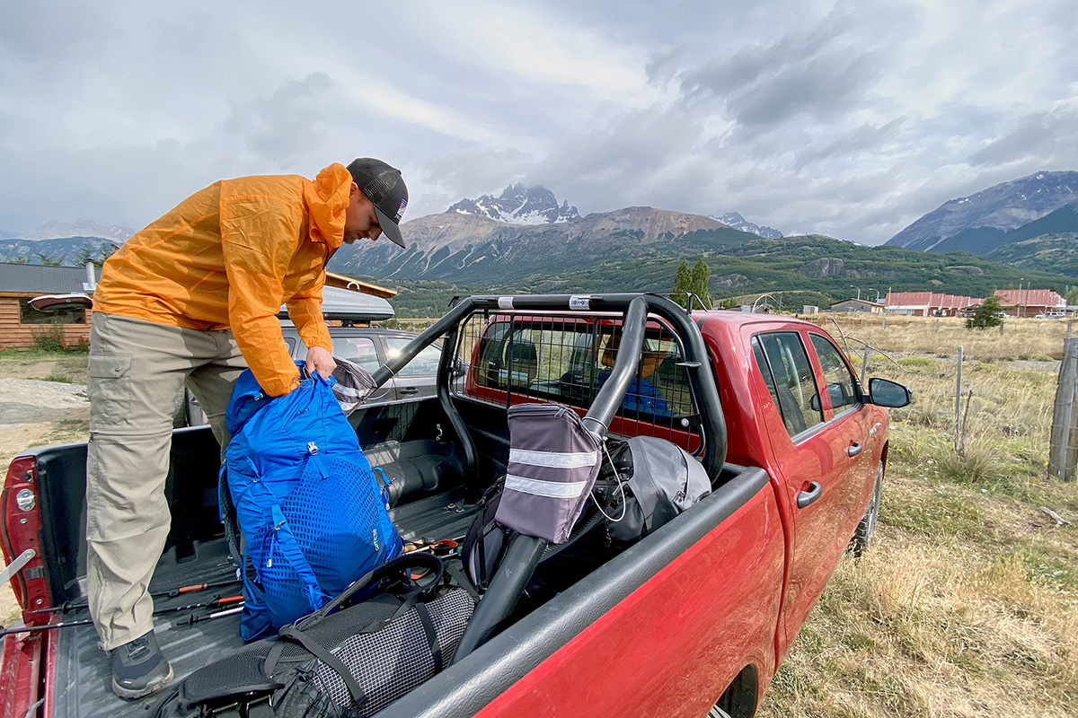 Gregory Optic 58 backpacking pack (packing pack in truck bed)
