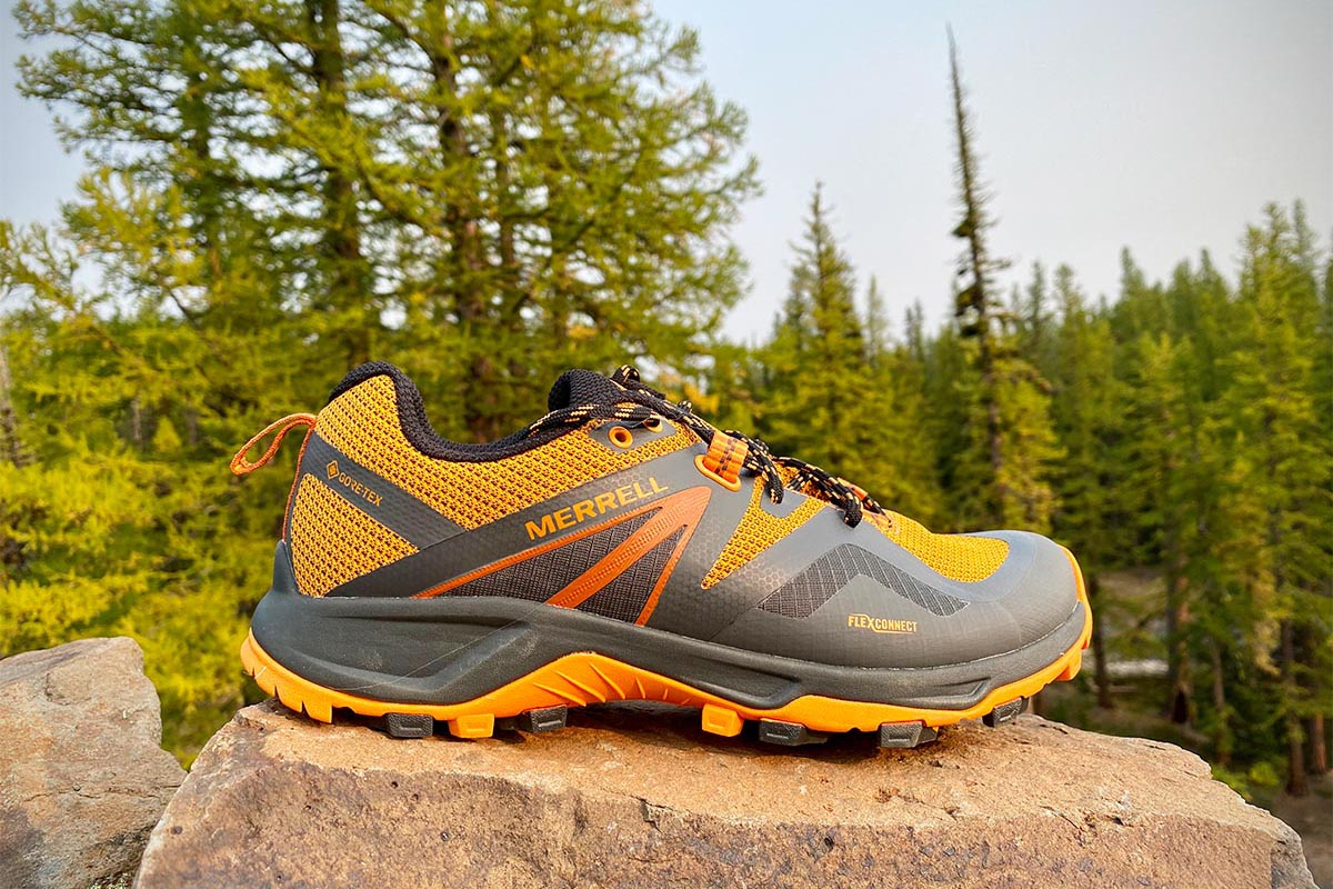 Merrell MQM Flex 2 GTX hiking shoe (gore-tex model on rock)
