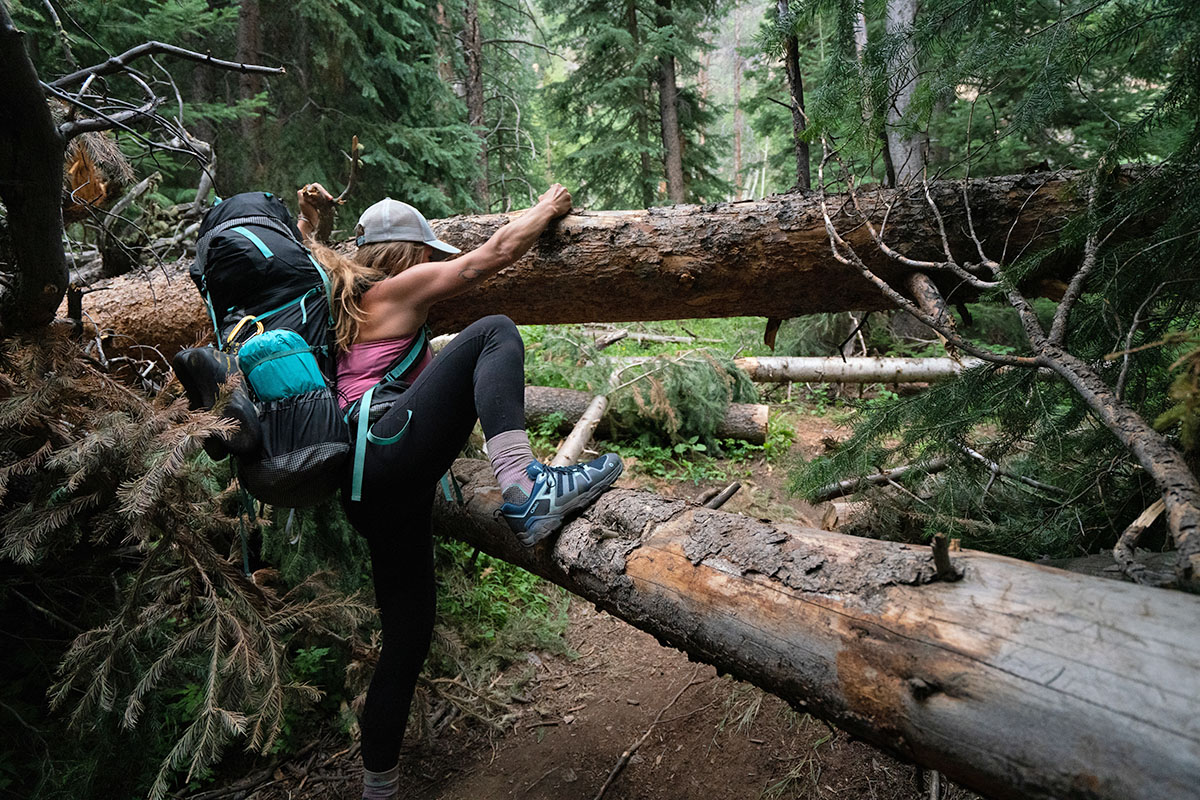 Oboz Arete hiking shoes (climbing over fallen tree)