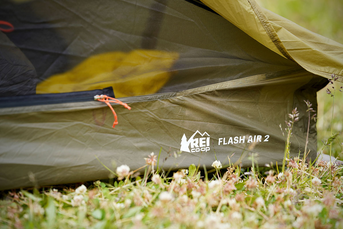 REI Flash Air 2 backpacking tent (logo)