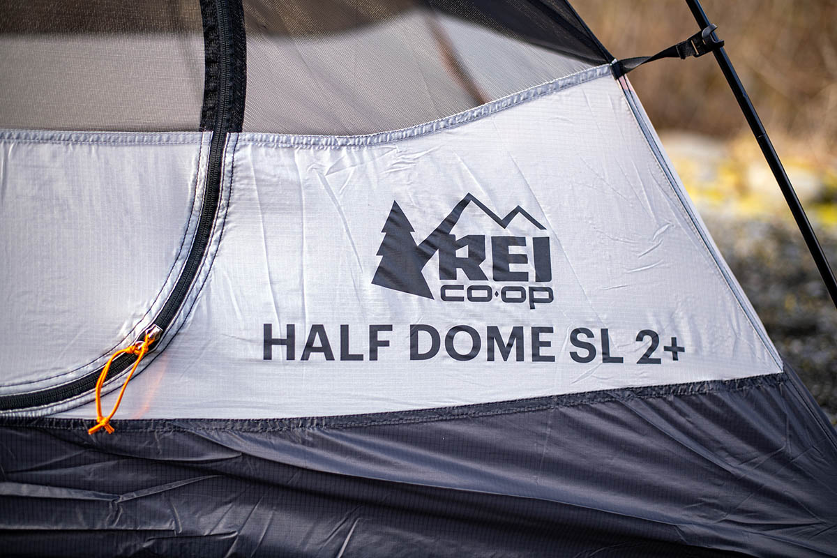 REI Co-op Half Dome SL 2 Plus tent (closeup of logo and name)