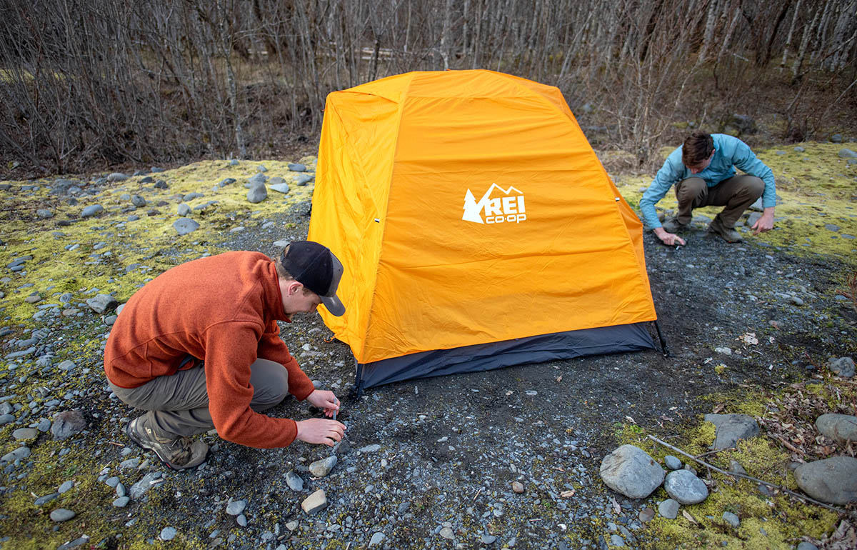 REI Co-op Half Dome SL 2 Plus tent (staking out tent)