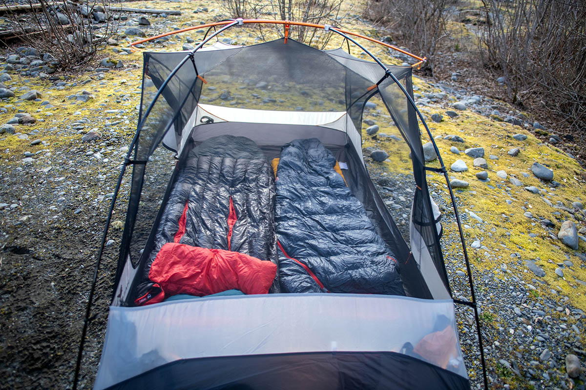 REI Co-op Half Dome SL 2 Plus tent (with sleeping bags inside)
