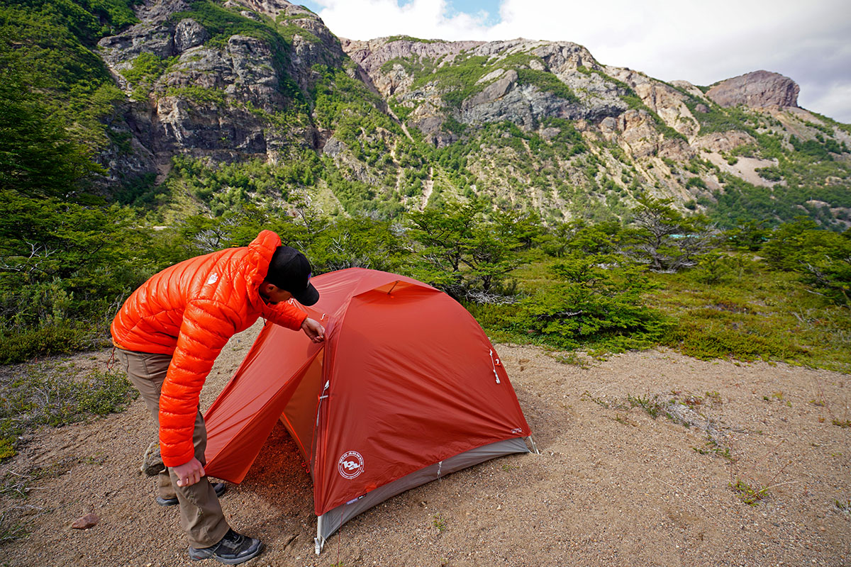 Big Agnes Copper Spur freestanding backpacking tent (opening vestibule)