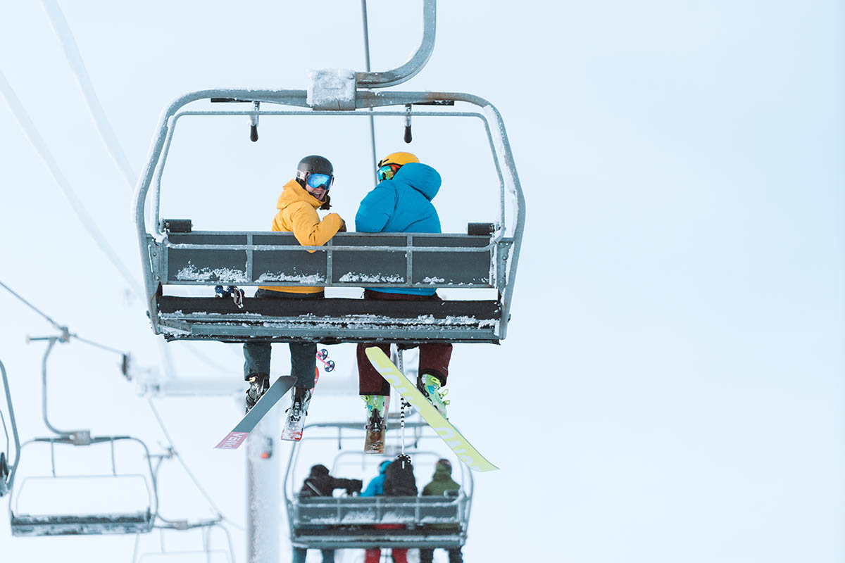 Ski jackets (sitting on chairlift)