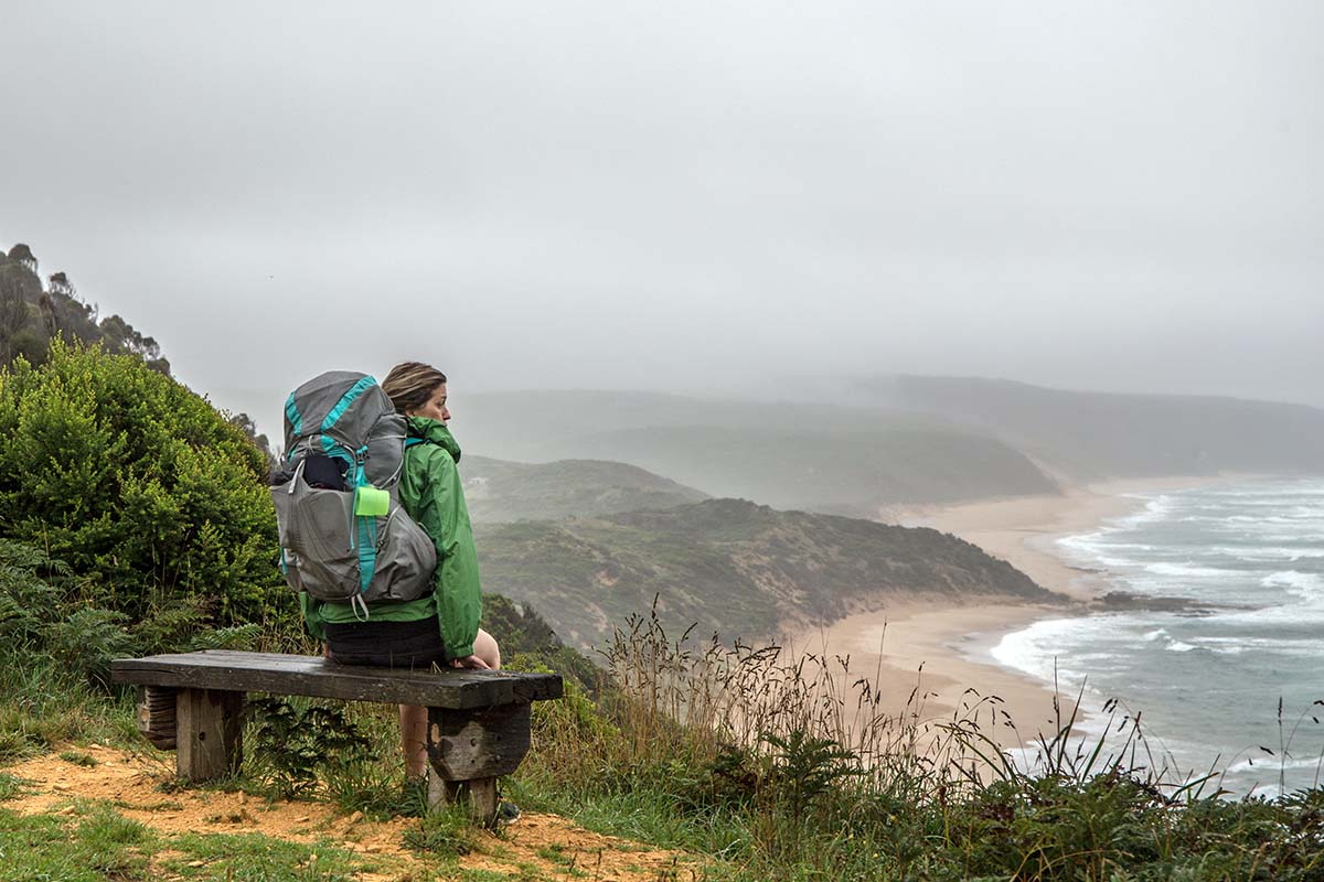Great Ocean Walk (sitting on bench in fog)