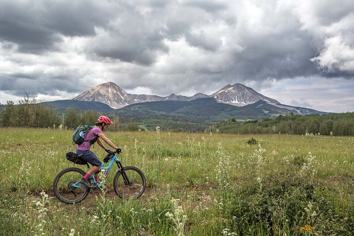 Bikepacking in front of La Sal Mountains in Utah