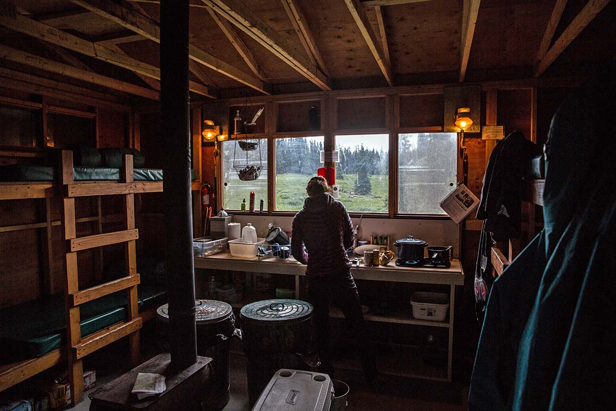 Inside of a hut in Colorado's San Juan Mountains