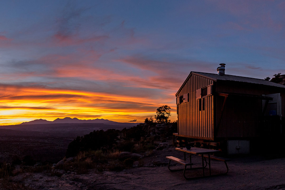 San Juan Bikepacking (sunset over hut)