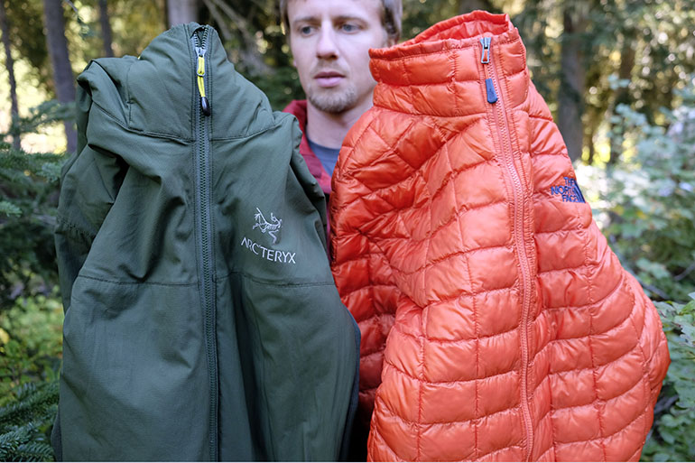 Arc'teryx Atom LT and TNF ThermoBall comparison