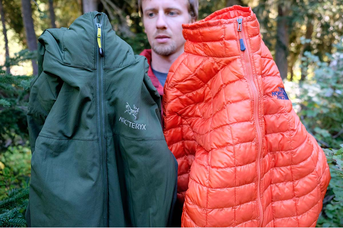 78fba6e7032 Arc'teryx's Atom LT with Coreloft (left) and the ThermoBall from The North  Face (right)
