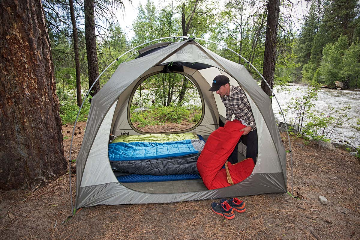 Camping sleeping bags (inside tent)