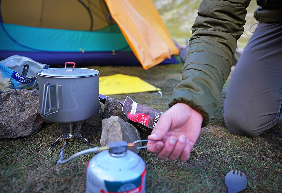 Backpacking stove (simmering with the GSI Pinnacle)